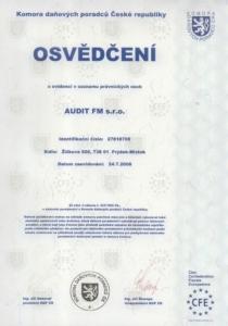 Osvědčení Audit FM - daňové poradenství